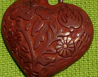 valentine HEART pendant , RED patina 1 pc , valentine charm