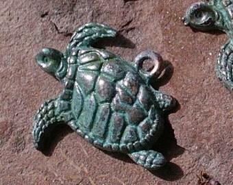 Sea TURTLE pendant charm ,  VERDIGRIS patina charm 2 pcs