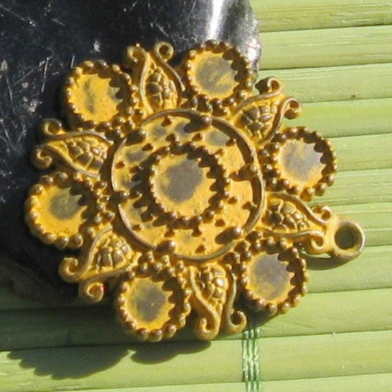 BRIGHT sun antique yellow patina charm 2 pcs