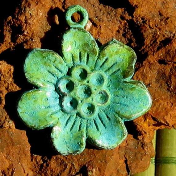 flower charm, SAKURA flower pendant, verdigris patina 4 pcs
