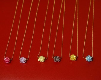Swarovski Rock Crystal Ball Pendants with 14k Gold Plated Chains/Bridesmaid Jewelry/Valentine Gift/Maid of Honor