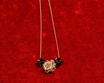 Black Diamond And Jet Swarovski Rock Crystal  Charm Trio Necklace/Fall necklace/Holiday Jewelry/Minimalist Necklace/layered necklaces