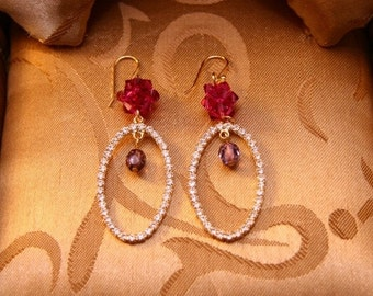 Midnight Crystal Star Earrings With Fuchsia Rock Crystal Balls
