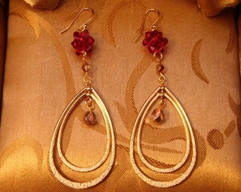 Gold Plated 3-D Hoop With Fuchsia Crystal Ball Earrings/Holiday Earrings/Maid of honor Gift/Bridesmaid Gift