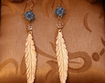 Gold Feather Earrings with Aquamarine Rock Crystal Balls/Wedding Gifts/Holiday Earrings/Bridesmaid Gifts