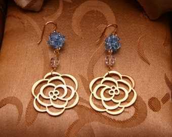 Gold Plated Rose Earrings With Blue Flower Balls/Bridesmaid Jewelry/Holiday Earrings/Christmas Earrings