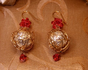 Holiday Earrings Gold Wire Wrapped Pearl Christmas Ornaments With Swarovski Rock Crystal Earrings/Holiday Jewelry/Bridesmaid Gift