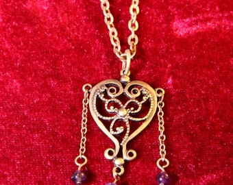 Vintage Brass Heart With Amethyst Necklace/Valentines day Gift/Holiday Jewelry/Holiday necklace