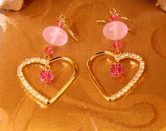 Gold Plated Rhinestone Hearts With Rose Swarovski Crystal Earrings/Wedding Gift/Valentine Gift/Maid of Honor Gift