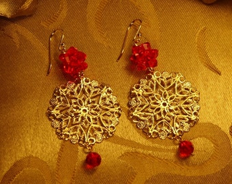 Gold Flower Filigree With Light Siam Swarovski Rock Crystal Ball Earrings/Holiday Jewelry/Mothers day Earrings