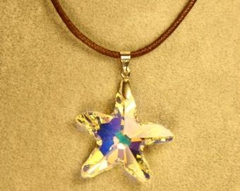 Starfish Swarovski AB(Aurora Borealis) Crystal Necklace With Brown Cord/Holiday Jewelry/Christmas Gift/Wedding Gift/Maid of Honor Gift