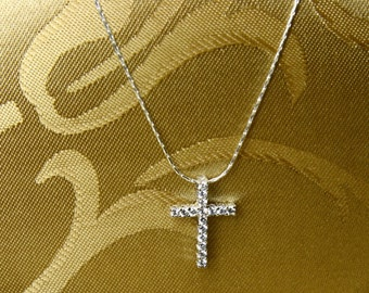 Sterling Silver Cubic Zirconia Cross Necklace/Baptism/Holiday Gift/Holiday pendant