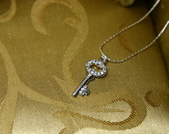 Silver Rhinestone Encrusted Skeleton Key Pendant in Sterling Silver Chain/Gifts for her/Wedding Jewelry/Holiday Pendant/Holiday Jewelry