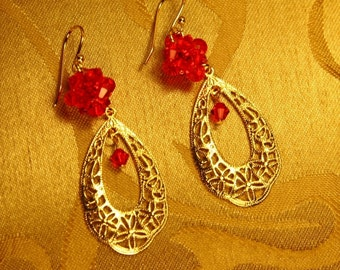 Vintage Gold Flower Filigree With Red Rock Crystal Ball Earrings/Bridesmaid Jewelry/Valentine Gift/Holiday jewelry