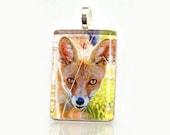 10% off Black Friday SALE - Curious Fox Glass tile pendant