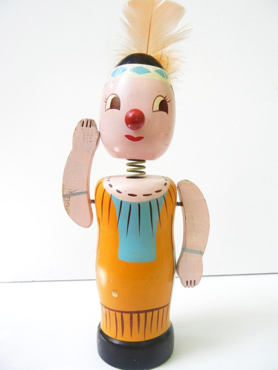 Wooden Bobblehead Indian Bank by Nasco