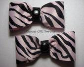 Pink and Black Zebra Print Hair Bows