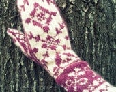 Fair Isle Hand Knit Mittens / Norwegian Selbuvotters YOU PICK COLOR