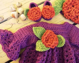 Deep Purple and Autumn Orange Baby Girl Dress Beanie and Shoe / Bootie Set 3-6 months