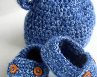 Bear Hat and Shoes Set in Blue 'Denim' - 0-3 months