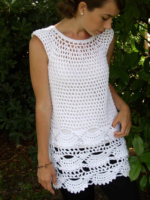 White Top / Tunic in Cotton Filigree Lace