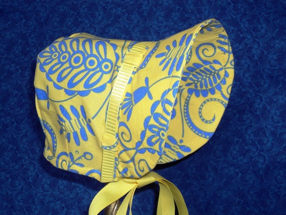 Winter Baby Bonnet in Yellow lined with Fleece