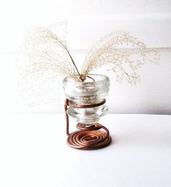 Candle Holder Primitive Rustic Copper Wire  Display OOAK Altered Art