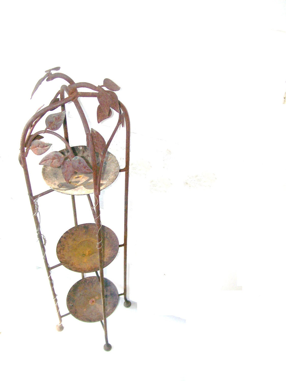 Vintage Rustic Wrought Iron Stand 3 Tiered Ivy Leaf Plant