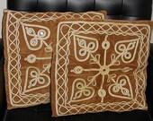 2 Vintage Bohemian Pillows Brown w/ Mirrors and Gold Trim