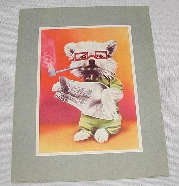 VINTAGE Print Picture Dog Smoking Pipe Reading Newspaper