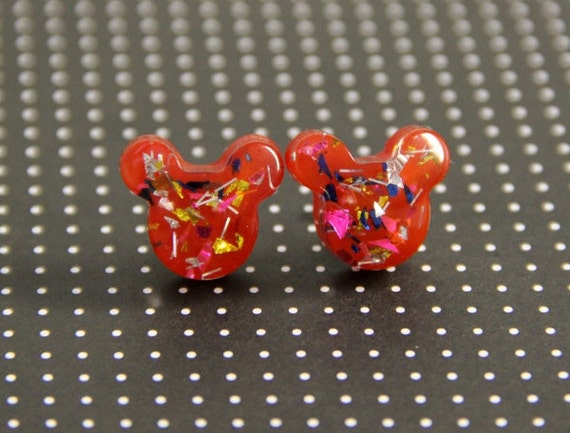 Red Mickey Confetti Earring Studs