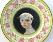 Mary Was a Little Lamb - Altered Antique Plate, medium