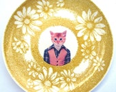 SALE - Tommy C., School Portrait - Altered Vintage Daisy Plate