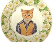 """Tommy Cat, School Portrait - Altered Vintage Plate, 10.5"""""""