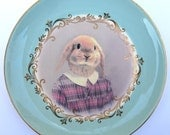 SALE - Loppy Sue Portrait Plate  - Altered Vintage Plate