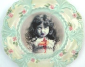 Lucy the Zombie Girl Portrait  - Altered Vintage Plate