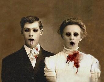 Zombie Love, Wedding Portrait - XLarge Fine Art Print 13 X 19