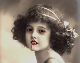 Lilith the Vampire Girl - Altered Image - 8 X 10 Art Print