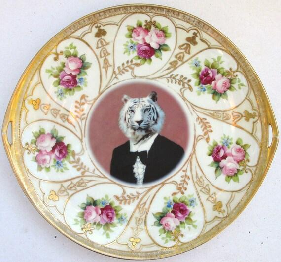 Timeless Tiger - Altered Vintage Plate, serving platter