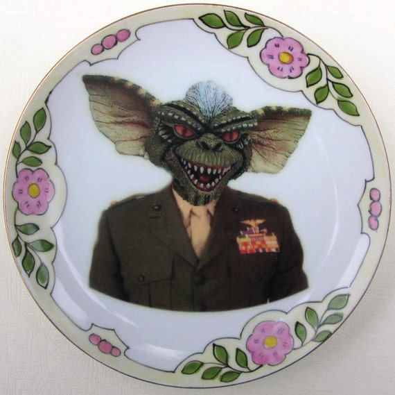 SALE - General Stripe Gremlin of the U.S. Armed Forces Portrait Plate - Altered Antique Plate