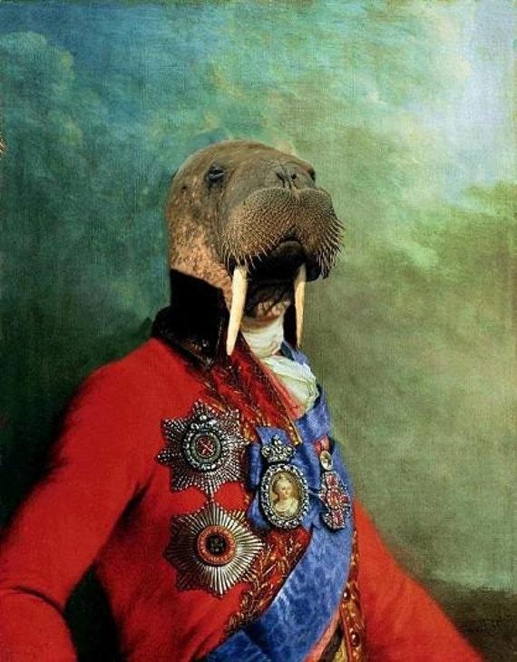 Sir Odobenus Rosmarus Portrait - XLarge Fine Art Print 13 X 19