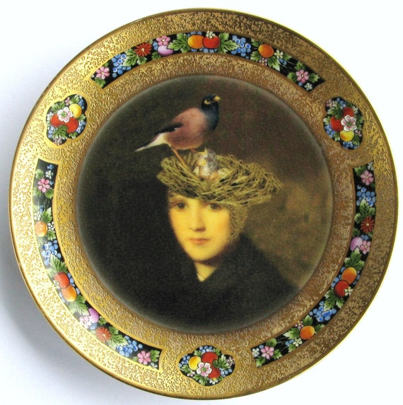 Portrait of a Bird Brain - Altered Antique Plate, small