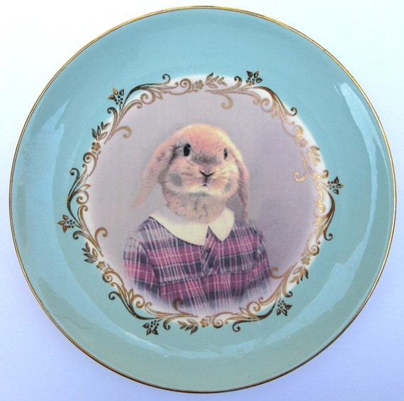 Loppy Sue Portrait Plate  - Altered Vintage Plate