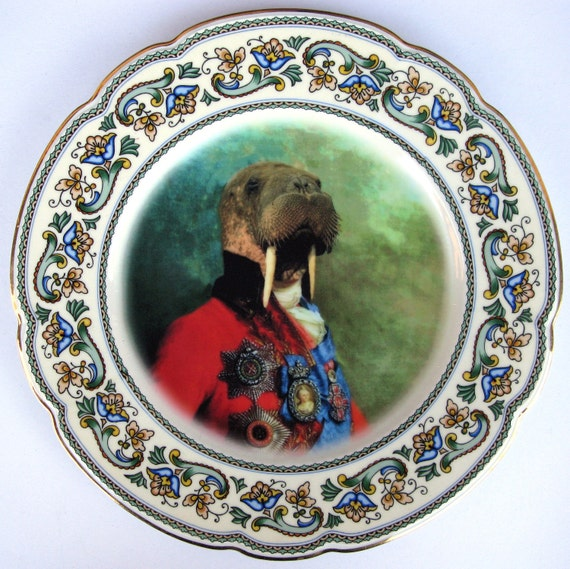 Sir Odobenus Rosmarus Portrait - Altered Vintage Plate