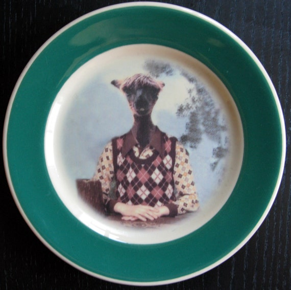 Timmy the Alpaca, school portrait  - Altered Vintage Plate