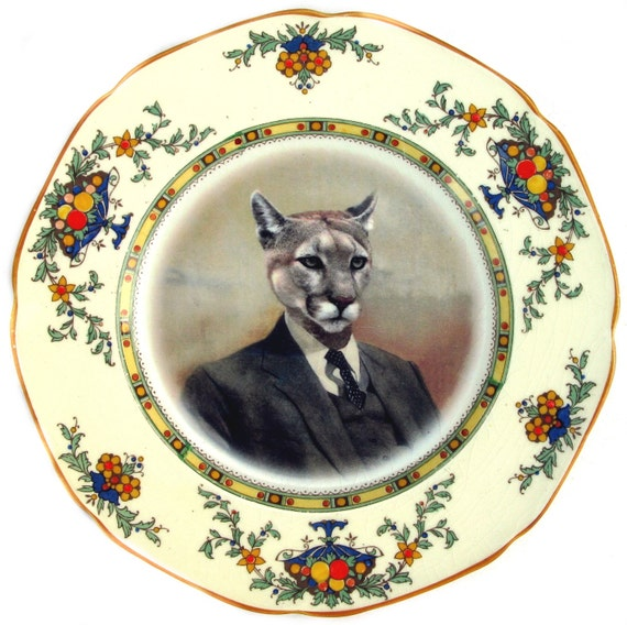 Colin the Cougar Portrait Plate - Altered Antique Plate