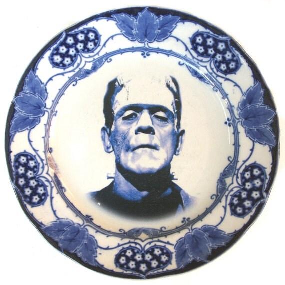 Flow Blue Frankenstein Portrait Plate - Altered Antique Plate