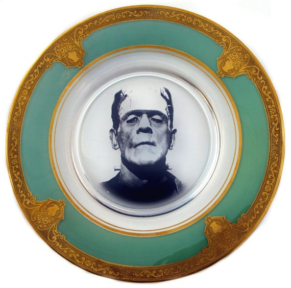 Flow Blue Frankenstein Portrait Plate - Altered Antique Glass Plate