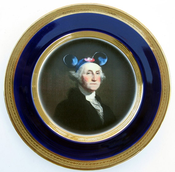 Mouseketeer Washington - Altered Vintage Plate