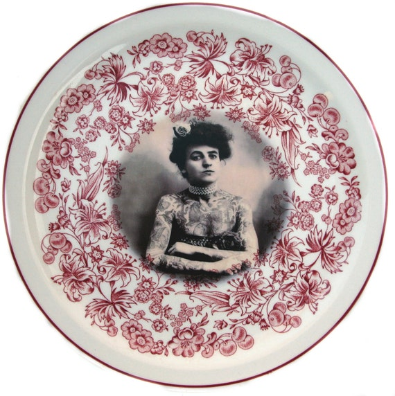 SALE - The Tattooed Lady - Altered Vintage Plate